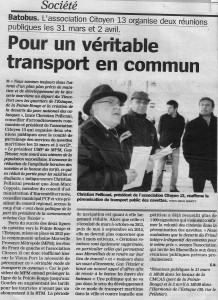"""26-03 article """"Batobus"""" dans La Marseillaise"""