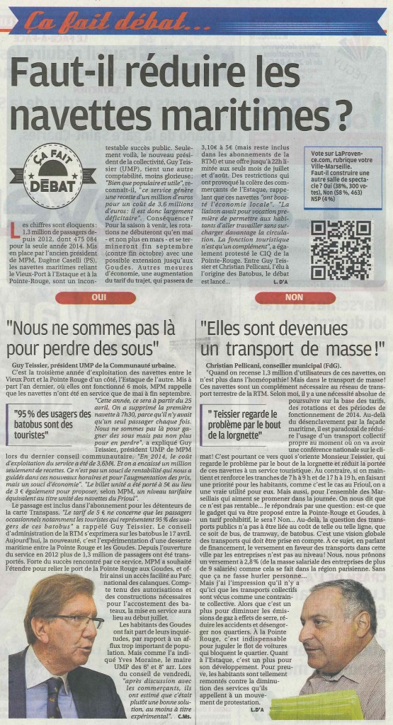 2015.04.14 faut-il reduire les navettes maritimes La Provence